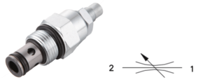 hydraulic flow valve and symbol