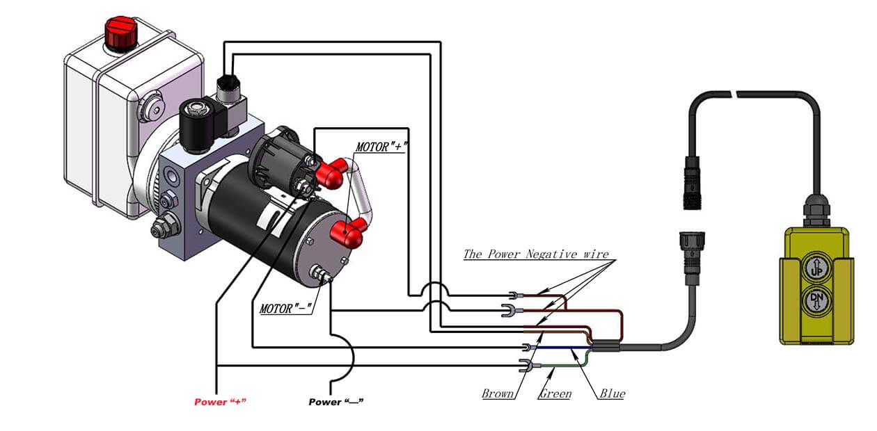 How to wire DC Hydraulic Power Pack Unit how to wire hydraulic power pack,power unit diagram design 110 Power Cord Diagram at edmiracle.co