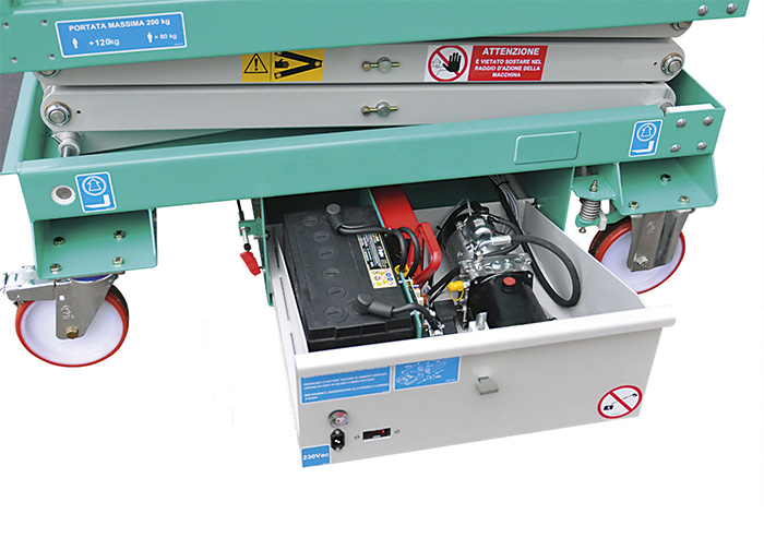 scissor lift batteries and power unit hydraulic