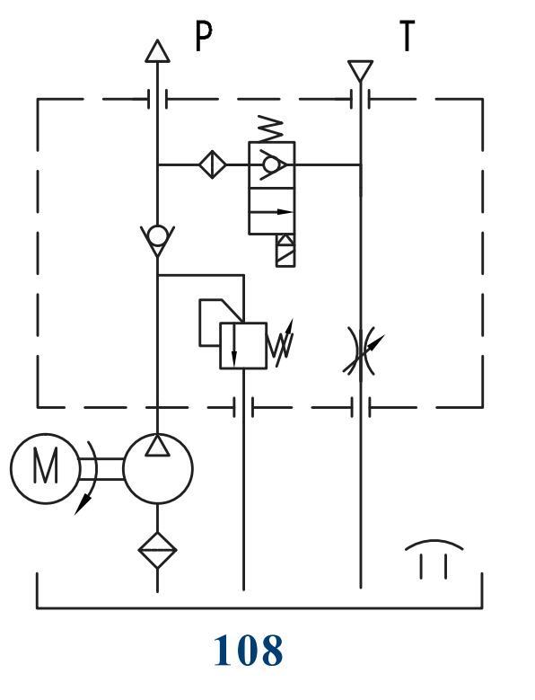 lift table hydraulic power unit circuit 108